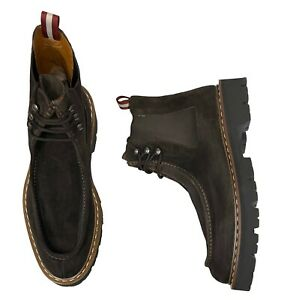 Bally Men's Lyons Ankle Boots Size 12 (11 UK) Brown Bovine Suede - Fur Lined