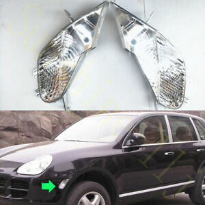 2x For Porsche Cayenne 2003-2006 White Left+Right Turn Signal Lamp Cover No Bulb