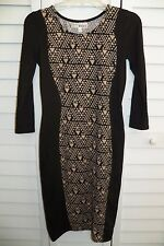 JUNIORS DEREK HEART BLACK TAN GEOMETRIC PRINT DRESS SIZE SMALL S
