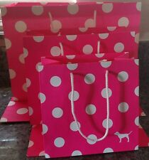 Lot (5) Victoria's Secret Pink Polka Dot paper gift bags SMALL MEDIUM & LARGE