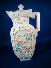 """Asian Scene Pitcher Ewer 7"""" Tall Ivory Colored Resin @22"""