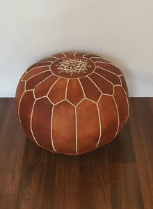 NEW Moroccan Leather Ottoman Pouffe Pouf Footstool In Mid Tan