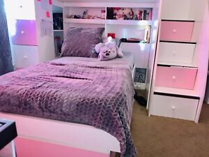 White And Pink Bunk Bed With Stairs And Storage