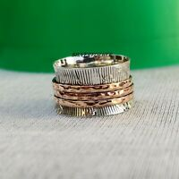Solid 925 Sterling Silver Spinner Ring Wide Band Meditation Statement Jewelry a7