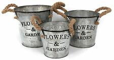Vintage Style 3 Flowers Garden Galvanised Metal Planter Plant Pot Rope Handles