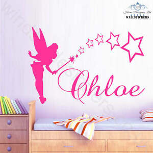 TINKERBELL Personalised NAME wall at sticker Large decor nursery kids girl