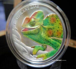 2020 $5 Chameleon Magnificent Life 1oz Silver Coloured Proof coin UNC RARE