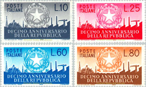 EBS Italy 1956 - 10th Anniversary of the Republic - Unificato 798-801 MNH**
