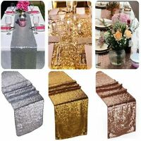 """12""""x108"""" Gold Silver Sequin Table Runner Wedding Party Decorations Table Decor"""