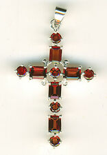 "925 Sterling Silver Large Garnet Cross Pendant  Overall Length 2.1/5"" 55mm  8+ g"