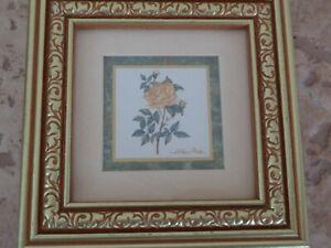 A. Renee Dollar BEAUTY Heartfelt Collection Framed Yellow Rose Flower Art Matted