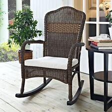 Beige Cushion Brown Resin Wicker Patio Porch Rocking Chair Outdoor Furniture