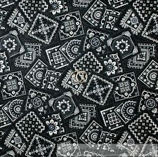 BonEful FABRIC Cotton Quilt Black White B&W Gray Bandanna US Cow*boy Block SCRAP