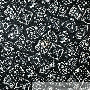 BonEful FABRIC FQ Cotton Quilt Black White B&W Gray Bandana Cowgirl Block Square