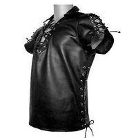 Sexy Mens Black PURE LEATHER Side Laced Shirt BLUF Gay All Sizes Available