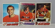 1977-78 Topps Hockey Cards Lot Of 3 Giacomin/Esposito/Dryden Near Red Wings