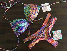 NWT M Top/S Thong LULI FAMA Free Love Padded Top Skimpy Sexy Buns Out Bikini Set