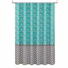 Hedgehog Dots Fabric Shower Curtain Aqua Blue Black White Cotton Polyester Bath