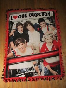 ONE DIRECTION THROW BLANKET vtg Knotted Fleece Fabric Harry Styles Liam Niall Lo