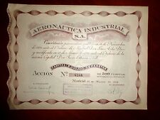 Aeronautica Industrial SA (AISA) 1941  Aviation Share Certificate.