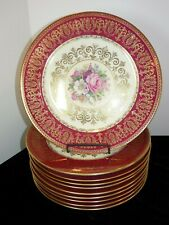11 ROSENTHAL Ivory Cabinet Plates RED GOLD FILIGREE Mid 20th Century Dinner 5957