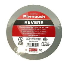 """Plymouth Rubber 3905 Revere Gray 7 Mil Vinyl Electrical Tape 3/4""""x 60' - Spain"""