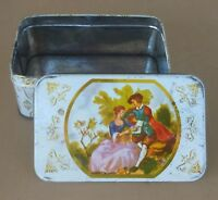 Vintage Collectible Victorian Lovers With Trees Tin Mid Century 1950's 1960's