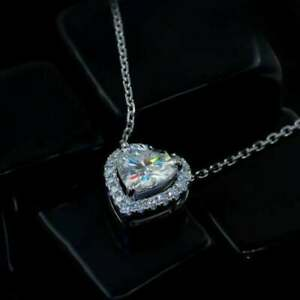 2.3 Ct Heart Shaped Diamond Solitaire Pendant 14K White Gold Over Free Chain 18""