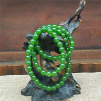 100% Chinese Delicate natural Xinjiang Jasper Green bead necklace jewelry 7m