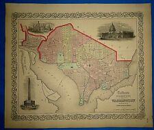 Antique 1862 Colton Atlas Map ~ WASHINGTON DC - GEORGETOWN ~ Old Original