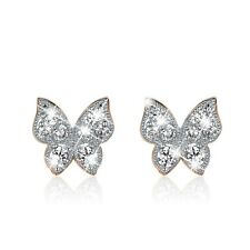 18K YELLOW WHITE GOLD GF STUD MADE WITH SWAROVSKI CRYSTAL BUTTERFLY EARRINGS