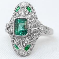Platinum 1.57ctw Columbian Emerald & Old Single Cut H-SI Diamond Navette Ring