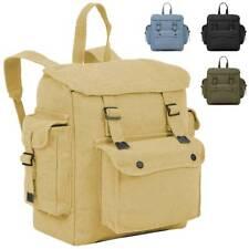 Highlander Large Canvas Pocketed Military Army Vintage Backpack Rucksack Bag 16L