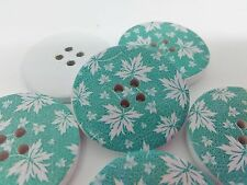 """4 Maple Leaf Buttons 30mm (1 1/8"""") Large Teal Green Wood Button Sewing Knitting"""