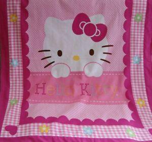 Hello Kitty Cotton Top Pink Minkee Cot Blanket Handmade