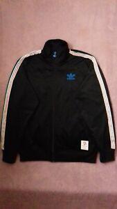 Mens Adidas Originals Great Britain GB Zip Up Black Track Top Jacket Rare Size L