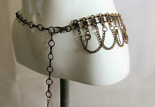 Vintage copper tone heart key chain belt hippie boho festival belt S/M R15342