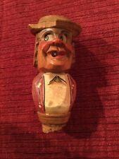 Antique/Vtg Anri? Hand Carved Mechanical Wood Wine Bottle Stopper Eyes Move On M