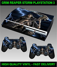PLAYSTATION 3 OLD SHAPE CONSOLE STICKER GRIM REAPER SKIN GRAPHICS & 2 PAD SKINS