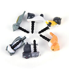 Cute 6pcs Cat 3.5mm Anti Dust Earphone Jack Plug Stopper Cap For Mobile phone US