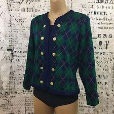 Vintage Stuart Alan Size 12 Argyle Cardigan Sweater Plaid Green Blue Gold Button