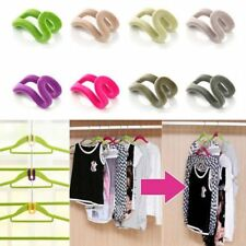 10pcs Useful Flocked Clothes Hanger Connector Hooks Closet Organizer Save Space