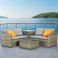 Rattan Wicker Sofa Set Storage Box Table Couch Cushioned Patio Outdoor Furniture