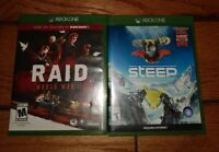 Lot Of 2 Xbox One Games RAID And STEEP Excellent Condition Work GREAT