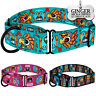 Personalized Martingale Collar for Dogs Wide Dog Collars Engraved ID Tag Aztec