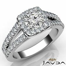 Stunning Round Diamond Engagement Halo Prong Set Ring GIA E SI1 Platinum 1.25Ct