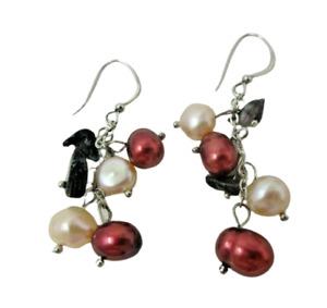 Red White Black Pearl Dangle EARRINGS Sterling Silver 925 Pierced Fish Hook