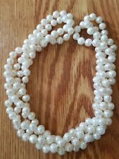 """Genuine White Fresh Water Pearl 64"""" x 5/16"""" Single Strand Necklace Freshwater"""