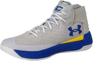 Under Armour Men's Curry 3 Basketball Shoe (Grey/Blue, SZ 8.5 M US) 1298308-107