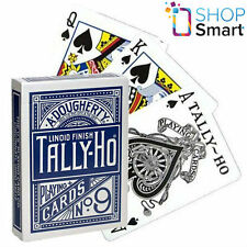 BICYCLE TALLY HO FAN BACK PLAYING CARDS DECK STANDARD INDEX LINOID FINISH BLUE